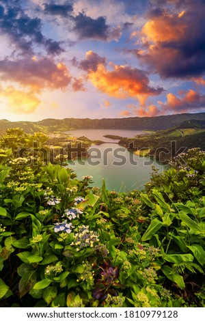 "Beautiful view of Seven Cities Lake ""Lagoa das Sete Cidades"" from Vista do Rei viewpoint in São Miguel Island, Azores, Portugal. Lagoon of the Seven Cities, Sao Miguel island, Azores, Portugal. Royalty-Free Stock Photo #1810979128"