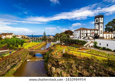 Panoramic cityscape view to Municipality and central square Of Ribeira Grande, Sao Miguel, Azores, Portugal. Central square of Ribeira Grande, Sao Miguel, Azores, Portugal. Royalty-Free Stock Photo #1810984954