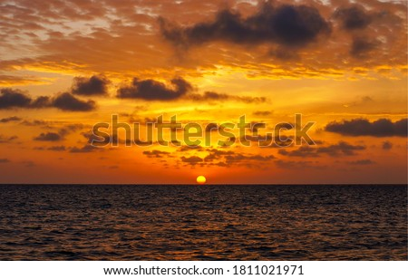 Sunset sea horizon landscape. Sunset horizon view. Sunset over sea horizon. Sea sky horizon sunset landscape #1811021971