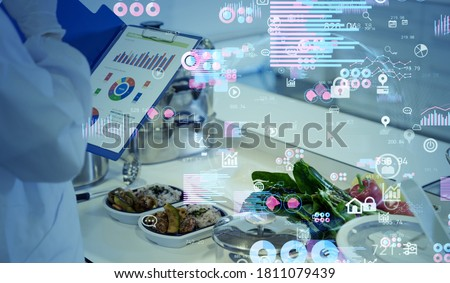 Nutrition science concept. Data analytics of foods. Royalty-Free Stock Photo #1811079439