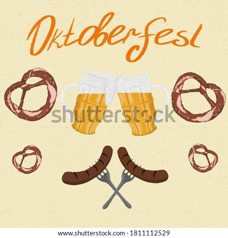 Oktoberfest poster with beer glasses, sausages and pretzels