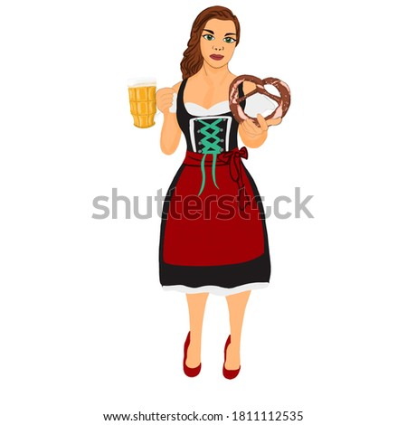 Girl with a glass of beer and a pretzel in traditional Oktoberfest clothing