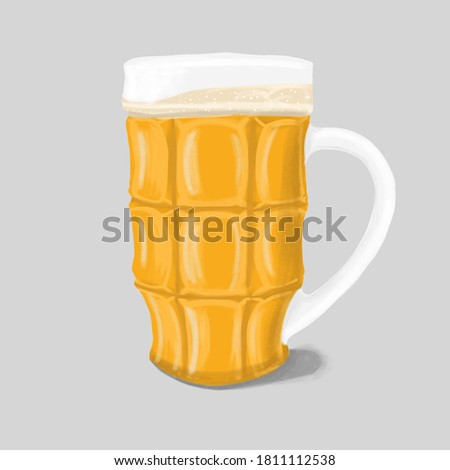 Beer glass, beer mug on a white background. Oktoberfest