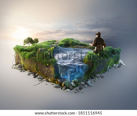 Travel and fishing background. 3d illustration with cut of the ground and the grass landscape with the cut of the pond.