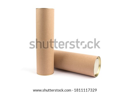 Two biodegradable recyclable paper tube with metal plug end, made of kraft paper or cardboard. Isolated on white, mockup. Eco packaging and sustainable production concept Royalty-Free Stock Photo #1811117329