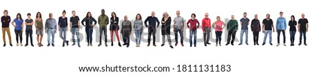 large group of mixed people on white background Royalty-Free Stock Photo #1811131183