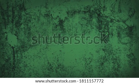 old green weathered cement wall background with dark corners. rustic grunge and dirty wall for abandoned concept background. green faded stucco wall. Royalty-Free Stock Photo #1811157772
