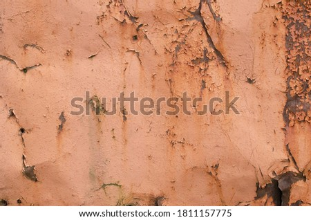 Rust and oxidized background. Old iron panel. Red, brown and black rust on the metal plate. Grunge rusted metal abstract texture. Rusted metal wall. Rusty metal surface with streaks of rust. #1811157775