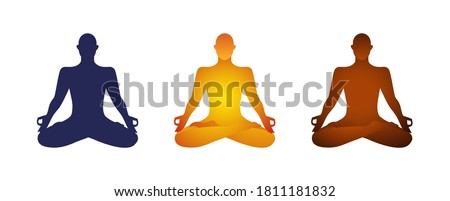 Person unisex yoga figure cut out silhouette in lotus pose spa and zen fitness and lifestyle design element isolated clip art.