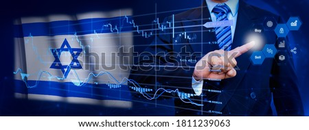 Businessman touching data analytics process system with KPI financial charts, dashboard of stock and marketing on virtual interface. With Israel flag in background.