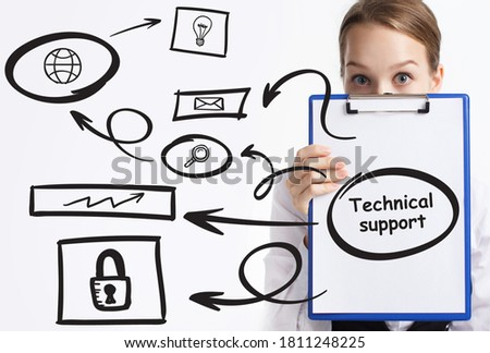 Business, technology, internet and network concept. Young businessman thinks over the steps for successful growth: Technical support #1811248225