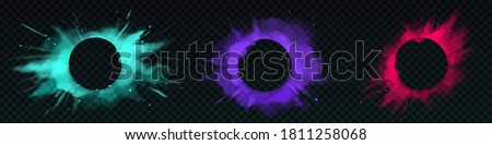 Color powder explosions with circle banner. Splash of paint dust with particles. Vector realistic clouds of colorful powder, burst effect with copy space for text isolated on transparent background Royalty-Free Stock Photo #1811258068