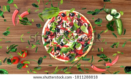 Pizza with salami and olives, advertising background. 3D rendering