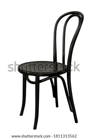 Old wooden vienna black chair on white isolated background