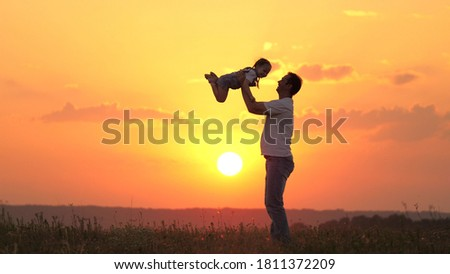 dad plays with his little daughter, joyfully throws child into the sky. happy family in nature. dad and child. family resting at sunset in the field. happy healthy family walking in the fresh air. #1811372209