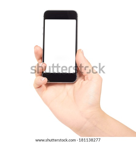 Hand holding mobile smart phone with blank screen, isolated on white #181138277