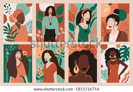 Women portraits. Female abstract hand drawn contemporary portrait, fashion girls silhouettes, modern female face posters vector illustration set. Characters with different hairstyle, big earrings