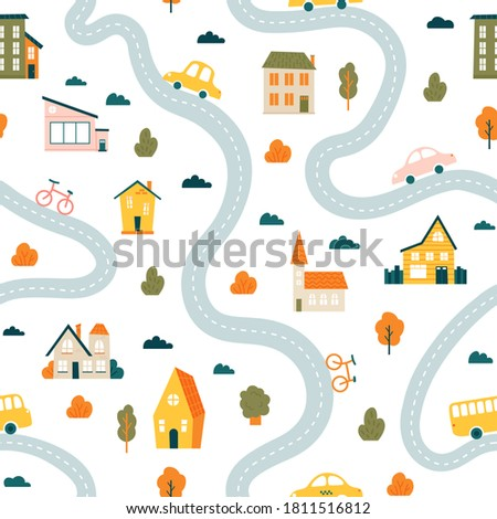 Town map pattern. Seamless cute urban landscape map, minimalist houses, trees and cars, simple hand drawn streets vector background illustration. Roads with vehicles as bicycle, bus Royalty-Free Stock Photo #1811516812