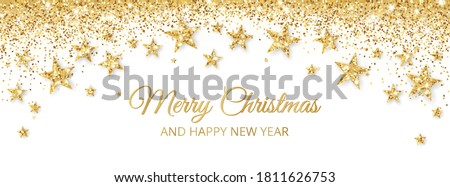 Banner with golden decoration. Festive border with falling glitter dust and stars. Holiday vector background. For Christmas and New Year cards, headers, party posters. #1811626753