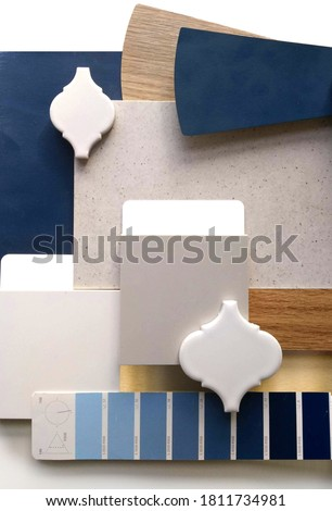 Moodboard. Material samples. Blue, gray, white, warm wood. Royalty-Free Stock Photo #1811734981