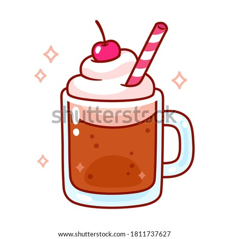 Cute cartoon root beer float illustration. Mug of root beer with ice cream, whipped cream, cherry on top and drinking straw. Simple doodle drawing.
