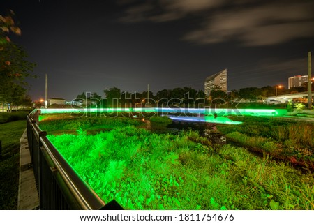 Night photo neon lights at Anita Favors Thompson Plaza Tallahassee FL USA Royalty-Free Stock Photo #1811754676