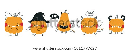 Cute cartoon pumpkin monster. Happy halloween print. Boo Royalty-Free Stock Photo #1811777629