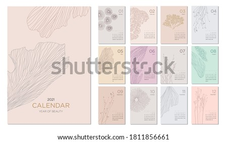 2021 calendar template on a botanical theme. Calendar design concept with abstract natural elements. Set of 12 months 2021 pages. Vector illustration #1811856661