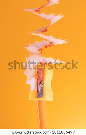 Orange wooden pencil with shavings in a stationery sharpener on an orange background. Monochrome image. Creative concept of drawing, creativity, learning. Minimalism, copy space.