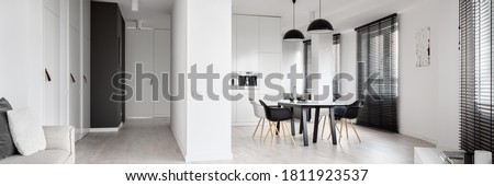 Panorama of spacious black and white apartment with many windows with long black blinds Royalty-Free Stock Photo #1811923537