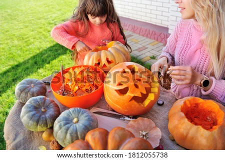 Close-up picture of carved Halloween pumpkins