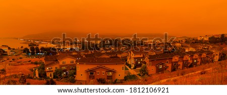 Thick orange haze above San Francisco on September 9 2020 from record wildfires in California, daytime view of ash and smoke floating over the Bay Area #1812106921