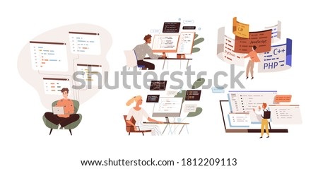 Set of programmers working on web development on computers. Concept of script coding and programming in php, python, javascript, other languages. Software developers. Flat vector cartoon illustration. Royalty-Free Stock Photo #1812209113