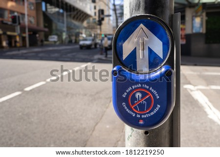 Sydney, NSW Australia. 20 August 2020 Transport for NSW has announced automatic pedestrian signal crossings operate 24 hours do not push the buttonto minimise the spread of the coronavirus outbreak. #1812219250
