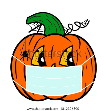 Illustration of a happy Halloween pumpkin with a face mask