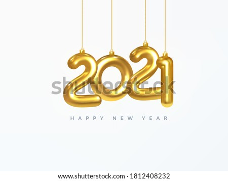 2021 New Year card. Design of Christmas decorations hanging on a gold chain gold number 2021. Happy new year. Realistic 3d. Vector illustration #1812408232
