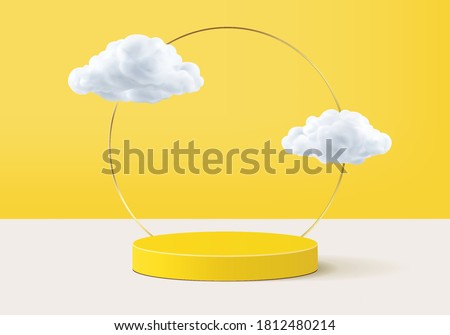 Cloud background vector 3d yellow rendering with podium and minimal cloud scene, minimal abstract background 3d rendering product shape yellow pastel. Stage for display showcase on cloud in podium 3d. #1812480214