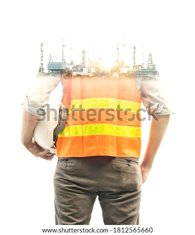 Building engineer, architect people or construction technology. Future building construction engineering project concept with double exposure graphic design.