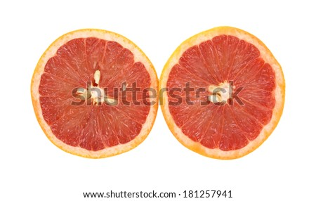 A top view of red grapefruit halves, side by side, on a white background. #181257941
