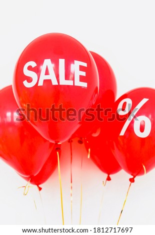 Sale discount red balloon offer image for promotion background wallpaper photography banner poster leaflets brochure or website