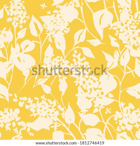 Plain floral drawing. Silhouettes of blooming lilac flowers in vintage style. Elegant seamless botanical pattern made of spring flowers. Nature ornament for textile, fabric, wallpaper, surface design. #1812746419