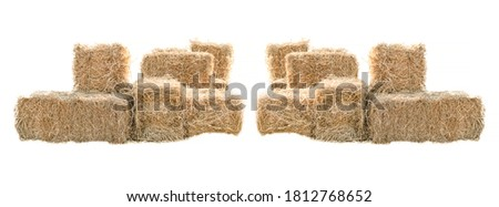 Golden yellow haystack isolated on a white background hay is a tightly joined bale of straw. Royalty-Free Stock Photo #1812768652
