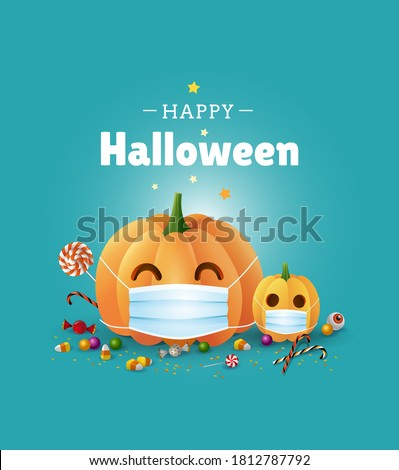 Happy Halloween greeting card design. Cute illustration with pumpkins wearing face masks for protection from coronavirus and sweets on green background. - Vector #1812787792