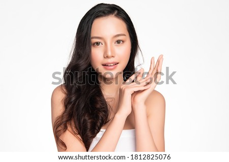 Beautiful young asian woman with clean fresh skin on white background, Face care, Facial treatment, Cosmetology, beauty and spa, Asian women portrait Royalty-Free Stock Photo #1812825076