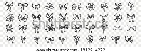 Hand drawn bows doodle set. Collection of pen pencil drawing sketches of decorative birthday holiday ribbons isolated on transparent background. Illustration of wedding celebration decoration symbol.