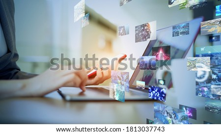 Visual contents concept. Social networking service. Streaming video. communication network. *Video version available in my portfolio. Royalty-Free Stock Photo #1813037743