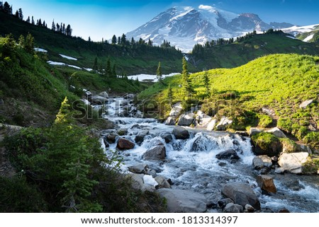 Myrtle Falls in Mount Rainier National Park in Washington State Royalty-Free Stock Photo #1813314397