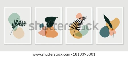 Botanical wall art vector set. Foliage line art drawing with abstract shape.  Abstract Plant Art design for print, cover, wallpaper, Minimal and  natural wall art. Vector illustration. Royalty-Free Stock Photo #1813395301