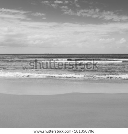 Beach with blue sky and blue water lapping the sand in black and white