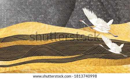 Art landscape background with gold texture vector. Japanese hand drawn wave pattern with crane birds and mountain banner in vintage style. #1813740998